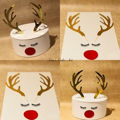Reindeer Christmas party cake topper with antlers Rudolf the red nose