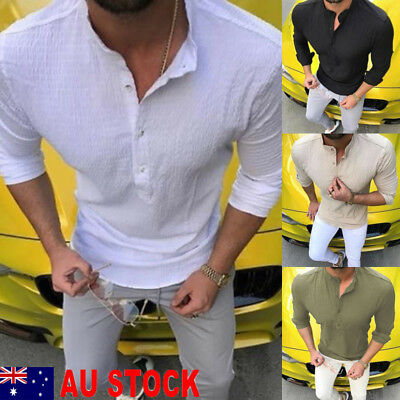 AU Fashion Mens Casual Shirts Business Dress T-shirt Long Sleeve Slim Fit Tops