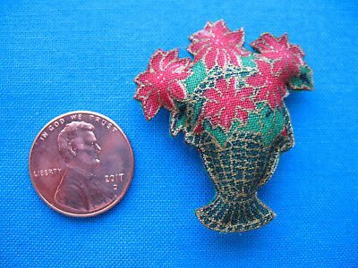 Beautiful Miniature Dollhouse Pillow of Poinsettias in a Basket for Christmas