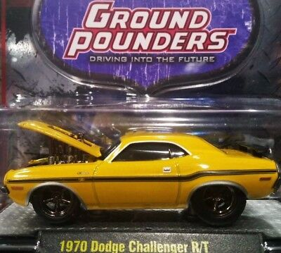 M2 Machines 70 1970 Dodge Challenger R/t Ground Pounders Collectible Car Yellow