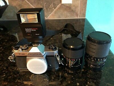 pentax k1000 camera with 35mm and 75mm lens