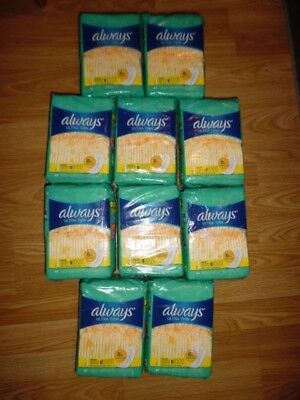 NEW Maxi Pads Always Ultra Thin Size 1 Without Wings Regular 44 Count Lot of 10
