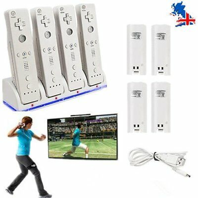 4 Charger Docking Station + 4 Rechargeable Battery Pack For Wii Remote Uk Seller