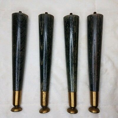 Set 4 Vintage Mid-Century Atomic Tapered Wood Metal Tip  Table Legs 10""