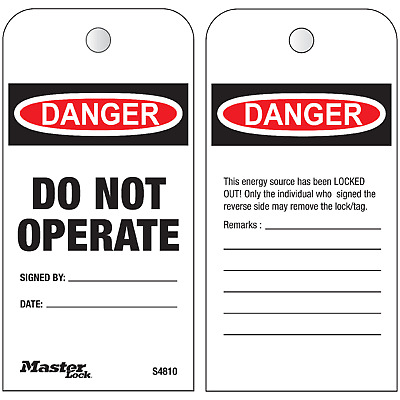 Master Lock DO NOT OPERATE LOCKOUT TAGS Boxed Roll Of 100Pcs, Heavy Duty