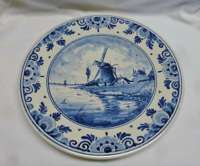 """Lovely Vintage Delft Blue & White 10"""" Plate With Windmill Scene. Nice !!!"""