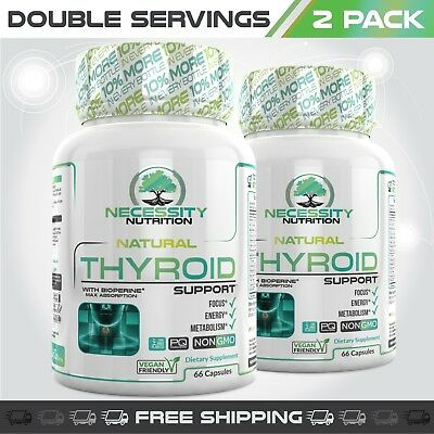 2X Thyroid Support Supplement Complex Metabolism Energy Weight Loss Ashwagandha