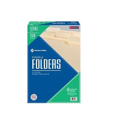 Member's Mark File Folders By Smead 1/3 Cut Assorted Tabs Legal Size 150 Ct