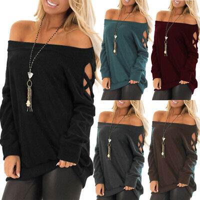 UK Womens Sexy Off-the-Shoulder Long Sleeve Tops Ladies Autumn Casual Blouse
