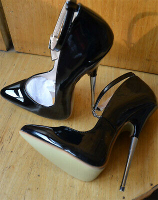 7813cd766a Women Super High Heel Pointed Toe Patent Leather Black Ankle Strap Buckle  Shoes