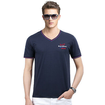 Bruce Shark Men Short Sleeve Cotton V Collar T-Shirt Loose Thin BRU-DT1281 BU