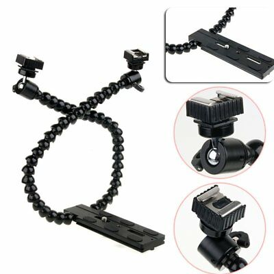 Dual-arm Dual-shoe Flash Bracket Holder Mount Flexible Macro Shot Fr DSLR Camera