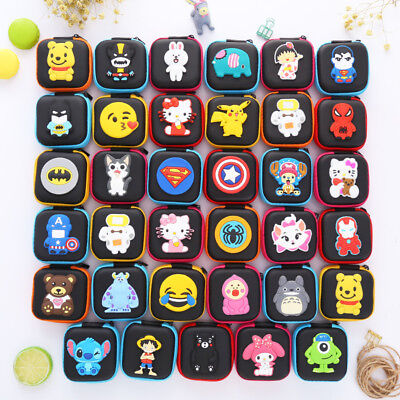 Womens Kids Girls Boys Cartoon Manga Hero Mini Coin Wallet Headset Bag Cute Gift