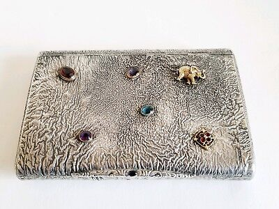 Large Antique Russian Cigarette Case Samorodok with Jewels