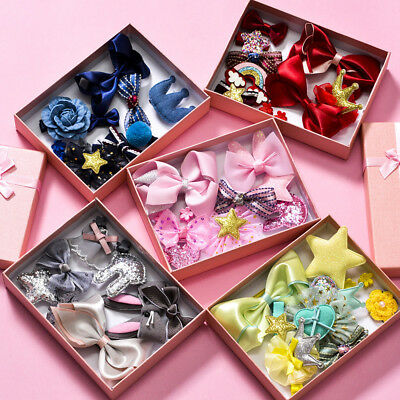 10Pcs/Set New Baby Girls Bowknot Head Clips Hair Bows Crown Princess Accessories