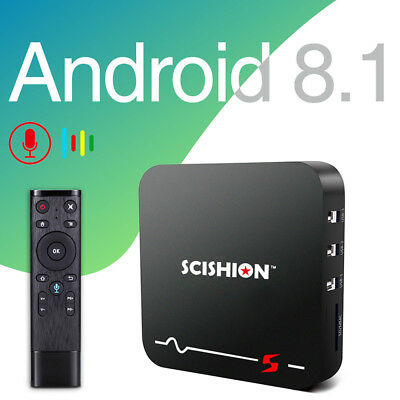 SCISHION Model S TV Box Android 8.1 2GB/16GB H.264/H.265 2.4G WiFi 100Mbps Box
