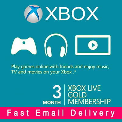 XBOX LIVE 3 Month (6 x Two-Week) GOLD Trial Membership Xbox One Xbox 360 Code