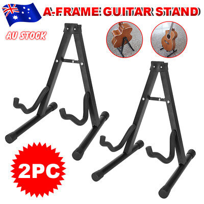 2 Electric Acoustic Bass Guitar Stand A Frame Floor Rack Folding Holder Portable