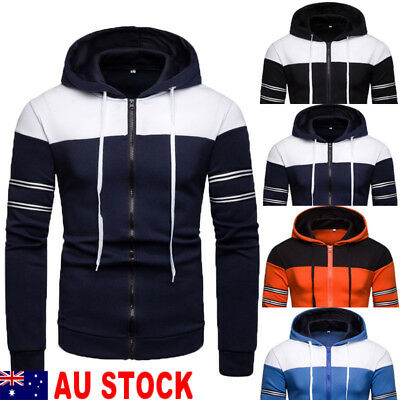 AU Men's Winter Slim Hoodie Warm Hooded Sweatshirt Coat Jacket Outwear Sweater