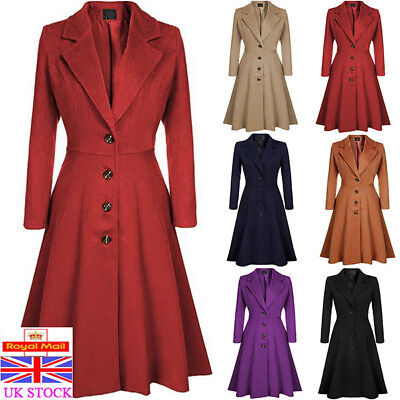 Women Gothic Trench Coat Ladies Winter Wool Blend Slim Fit Jacket Outwears