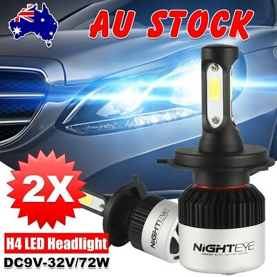 Nighteye 72W 9000LM HB2 H4 LED Headlight Kit Hi/Lo Beam Globe Bulbs 6500K TW