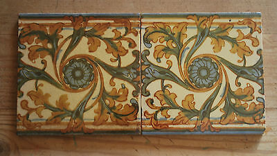 Original Victorian Hand Painted Tiles - Job Lot - Set of 2     c.1880   #1005