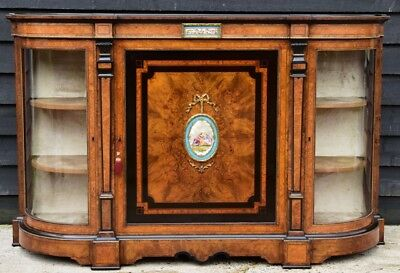 Superb Quality Victorian Burr Walnut & Ebonised Credenza/ Sideboard/ Cabinet.