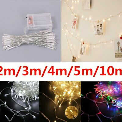Flashing/Steady Battery Operated 20-80 LED String Fairy Lights Xmas Tree Lights
