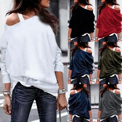 Fashion Women Off The Shoulder Jumper Ladies Tops Oversize Blouse Baggy Sweater