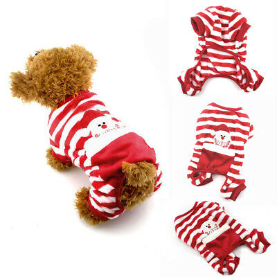 NEW Winter Christmas Pet Dogs & Cats Sweater Striped Dog Clothes Puppy Sweater