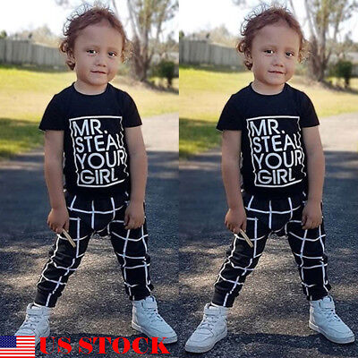 US Toddler Kids Baby Boy Outfits Clothes T-shirt Top+Plaid Pant Trouser 2PCS Set