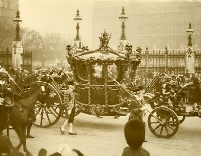 London's Annual Pageant King Historic State Coach Parliament old Photo 1930'