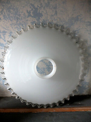 VINTAGE French Art Deco Milk Glass Fluted Coolie Lamp Shade