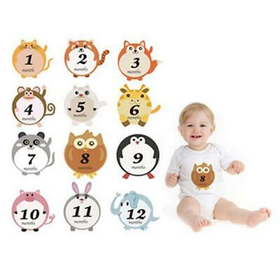 Baby Monthly Milestone Stickers, 0-12 Month Happy Animal Belly Sticker For Age O