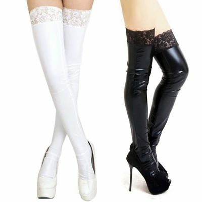 UK Womens Sexy/Sissy Wet Look Faux Leather Thigh High Stockings PVC Lace