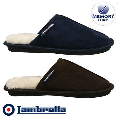 Mens Lambretta Warm Fur Memory Foam Moccasins Slippers Winter Shoes Mules Size