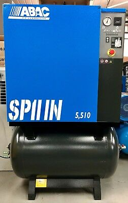 ABAC Spinn 5.510 Rotary Screw Compressor! Immaculate! 5.5Kw, 25CFM! Low Hours!