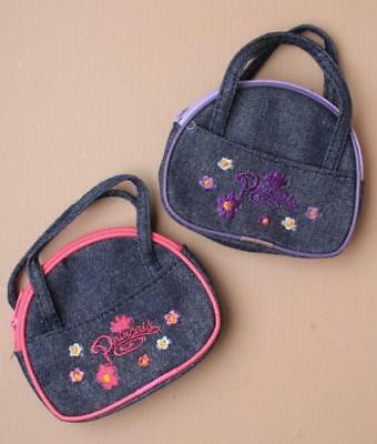 Denim style fabric Princess purse with flower embroidery and handles