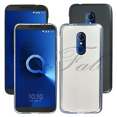 For Alcatel 3 5052Y New Genuine Black Clear Rubber Gel Phone Case + Screen Guard