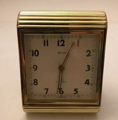 "Vintage Semca 8-Day 7 Jewel Brass Case Alarm Clock "" Serviced"""