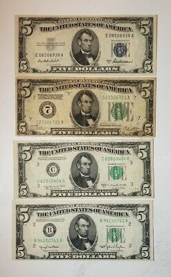 Four Collectible $5 Bills - 3 Federal Reserve Notes - 1 Silver Certificate