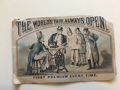 Early Worlds Fair Weed Sewing Machine Hartford Ct Trade Card