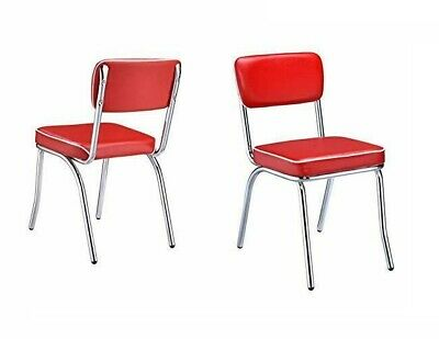 Red Retro Dining Chairs Chrome Vinyl Vintage 50's Diner Style Seats SET OF 2