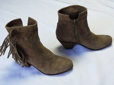 21d732a8a0494 SAM EDELMAN Brown Suede appearance LOUIE Fringe Ankle Calf Boots SIZE 7.5  heels