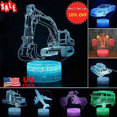 3D LED Night Light Car Series 7 / 16 Color Change LED Table Desk Lamp Xmas Gifts