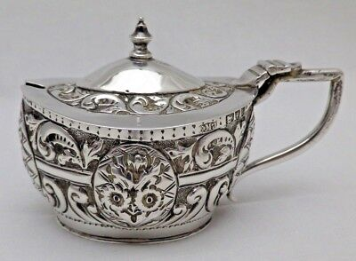 Antique Solid Silver Mustard Pot Owl Feature Blue Liner London 1895 (1011-C-OKY)