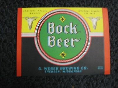 Irtp Beer Label From The G.weber Brewing Co. Theresa Wisconsin Wis Wi