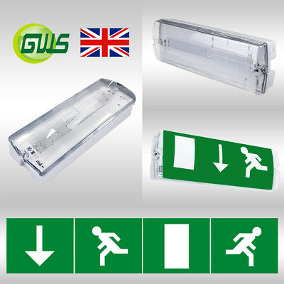 LED Emergency Bulkhead Fitting Maintained / Non-Maintained Exit Legends Included