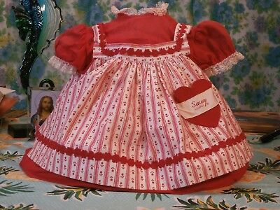 """28"""" Saucy Walker Playpal Red Dress/Pinafore Made by Ideal for 28"""" Saucy Walker"""