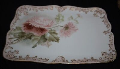 Antique D&C Limoges France Hand Painted Porcelain Vanity Tray Plate Dish